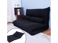 SALE! Adjustable Floor Double Sofa Bed Thicken Padded Seat Chair Folding Mattress (Black)