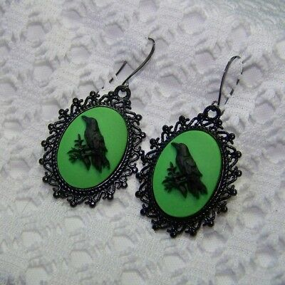 Raven Earrings, Odin Black Bird Crow Earrings, Witch Halloween, GOTH STEAMPUNK  - Odin Halloween