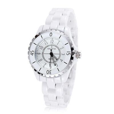 Luxury Women Ceramic Style Analog Quartz Watch Lady White Wrist Watches USA (Ceramic Analog Quartz Watch)
