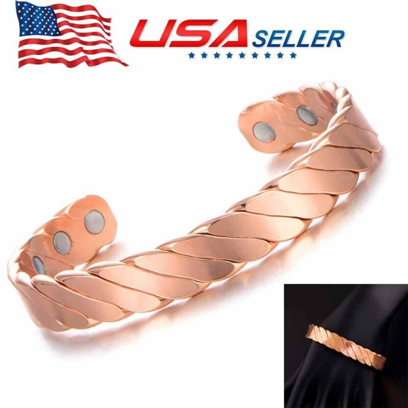 Adjustable Pure Copper Magnetic Bracelet Arthritis Energy Men Women Wristband US