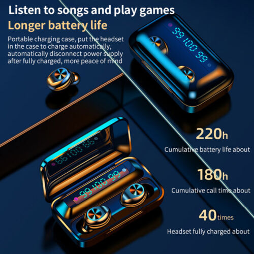 Wireless Headphones Bluetooth Earbuds 5.0 Noise Canceling Waterproof Headset TWS Cell Phone Accessories