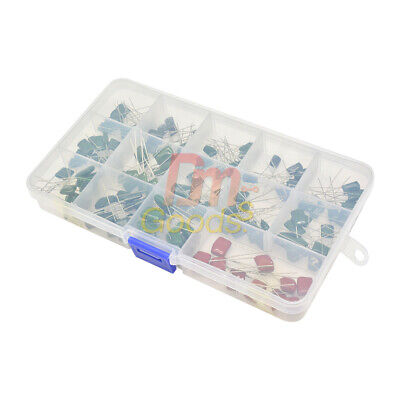 140pcs 630v 14 Values Polyester Capacitor Assortment Electrolytic Kit With Box