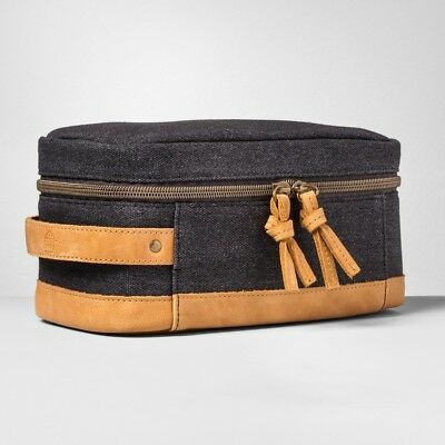 Hearth & Hand with Magnolia Black Wash Canvas/Leather Cosmetic/Travel Kit Bag