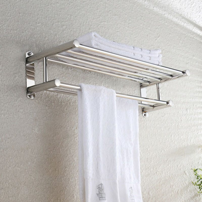 Double chrome towel rail holder wall mounted bathroom rack - Bathroom shelves stainless steel ...