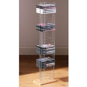 50 CD / VCD / DVD HOLDER TOWER RACK CHROME WOOD BASE FREE STANDING STORAGE UNIT