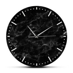 Minimalist Black Marble Wall Clock Print Silent Non Ticking Watch Room Decor