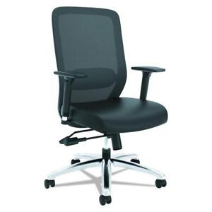 NEW basyx by HON Mesh Task Chair - Mesh High-Back Computer Chair with Leather Seat for Office Desk, Black (HVL721) Co...