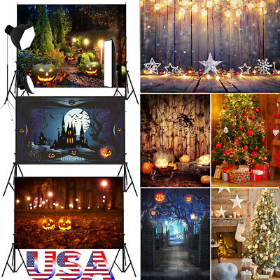 US Halloween Theme Photograph Backdrop Bling Bling Pumkin Background 3x5ft/5x7ft