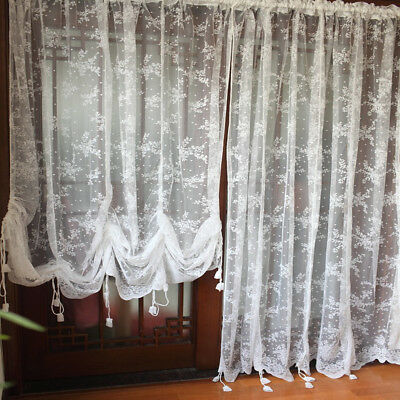 Lace Window Curtains (Window Curtain Balloon Shade Curtain Sheer Voile Lace Embroidered Tie-up)