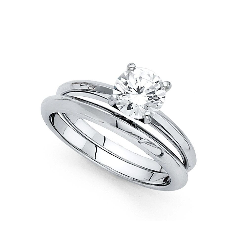 This is a picture of Details about 44k Yellow OR White Gold CZ Solitaire Engagement Ring & Wedding Band Bridal Set