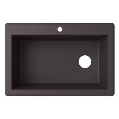 Drop In Single Bowl - Swan Drop-In/Undermount Granite 33 in. 1-Hole Single Bowl Kitchen Sink in Nero