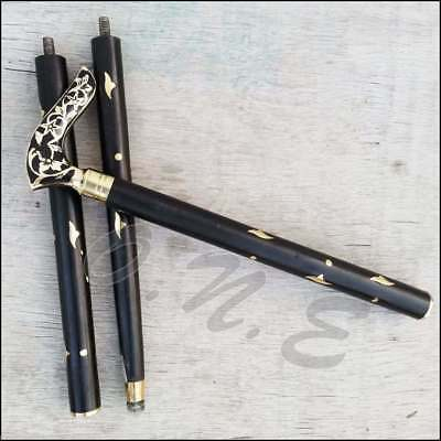Black Inlay Wooden Walking Stick Cane Victorian Brass Head Handle Handmade Gift - Brass Cane Heads