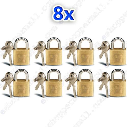 8 Small Metal Padlocks Mini Brass Tiny Box Locks Keyed Jewelry 2 Keys 20mm New !