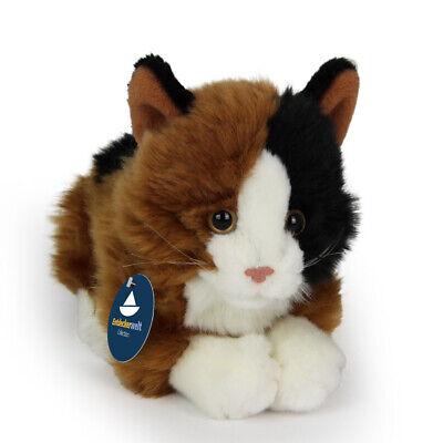 Stofftier liegende Katze bunt, Kätzchen, Plüschtier, (L. ca. 28 cm)