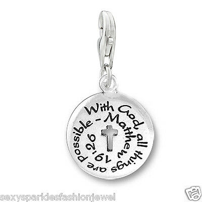 "Clip on ""With God All Things Are Possible"" Religious charm Charms & Charm Bracelets"