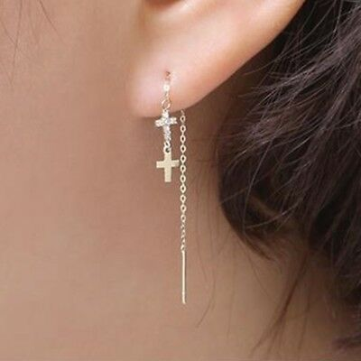 TPD 14K Solid Yellow Gold Double Cross Long Threader Dangle a Pair of Earrings