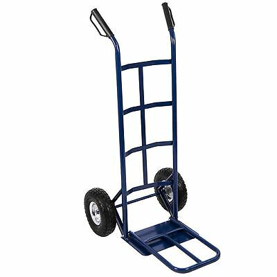 Hand Sack Truck Trolley Industrial Heavy Duty Pneumatic Tyres Folding Blue Large