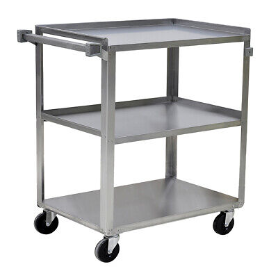 Stainless Steel Utility Cart 500 Lbs Capacity 3 Shelves 31x19x34 18