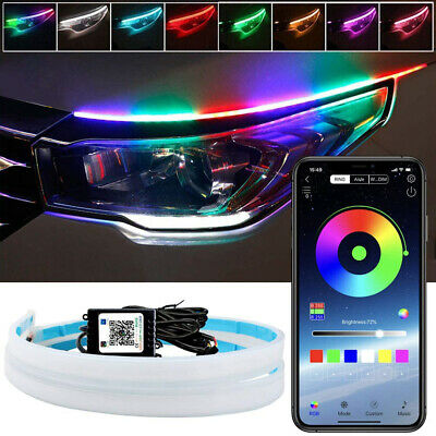 2pcs APP 60CM RGB Car LED Headlight Strip Light Flexible Daytime Running Lamp
