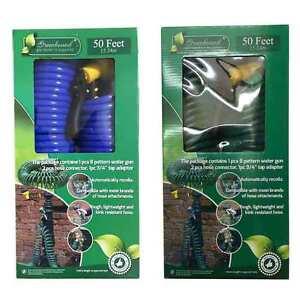 50Ft Garden Hose Expanding Water Coil Flexible Expandable Retractable Nozzle