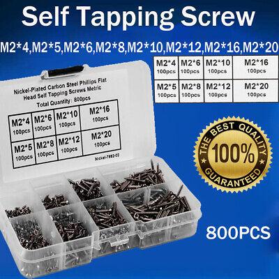 800pcs Stainless Steel Self Tapping Screw Assortment Kit Lock Nut Wood M24mm-20