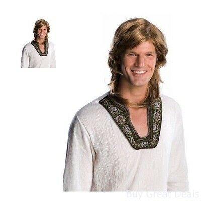 80s Halloween Costumes Guys (Mens Adult 70s 80s Guy Deluxe Brown Hippie Costume)