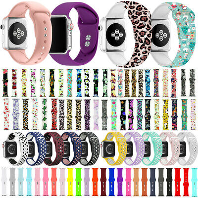 Silicone Band For Apple Watch 38mm 40mm 42mm 44mm Series 5 4 3 2 1 Sports Strap