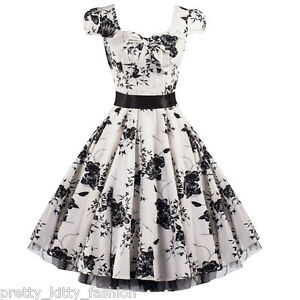 PRETTY-KITTY-40s-50s-WHITE-FLORAL-COCKTAIL-ROCKABILLY-TEA-SWING-PROM-DRESS-8-26