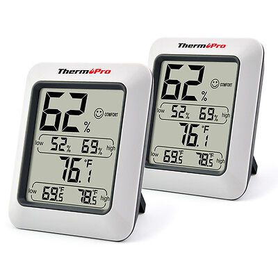 2 X ThermoPro Digital Indoor Temperature Humidity Meter Thermometer Hygrometer