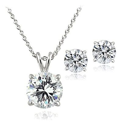 925 Silver 4ct Solitaire Necklace & Stud Earrings made with Swarovski Zirconia