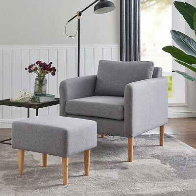 Fabric Occasional Accent Chair with Footstool Light Grey Fabric Lounge Armchair