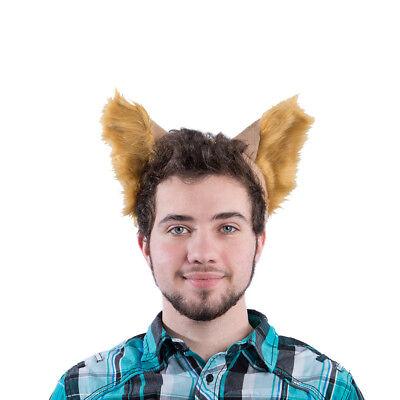 PAWSTAR Furry Wolf Ear Headband - Halloween Costume Tan Brown Light dog [BU]3066](Dog Ear Costume)