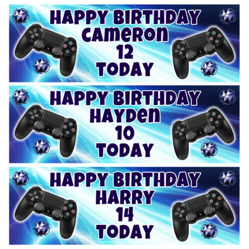 PLAYSTATION Personalised Birthday Banner - Playstation Birthday Party Banner