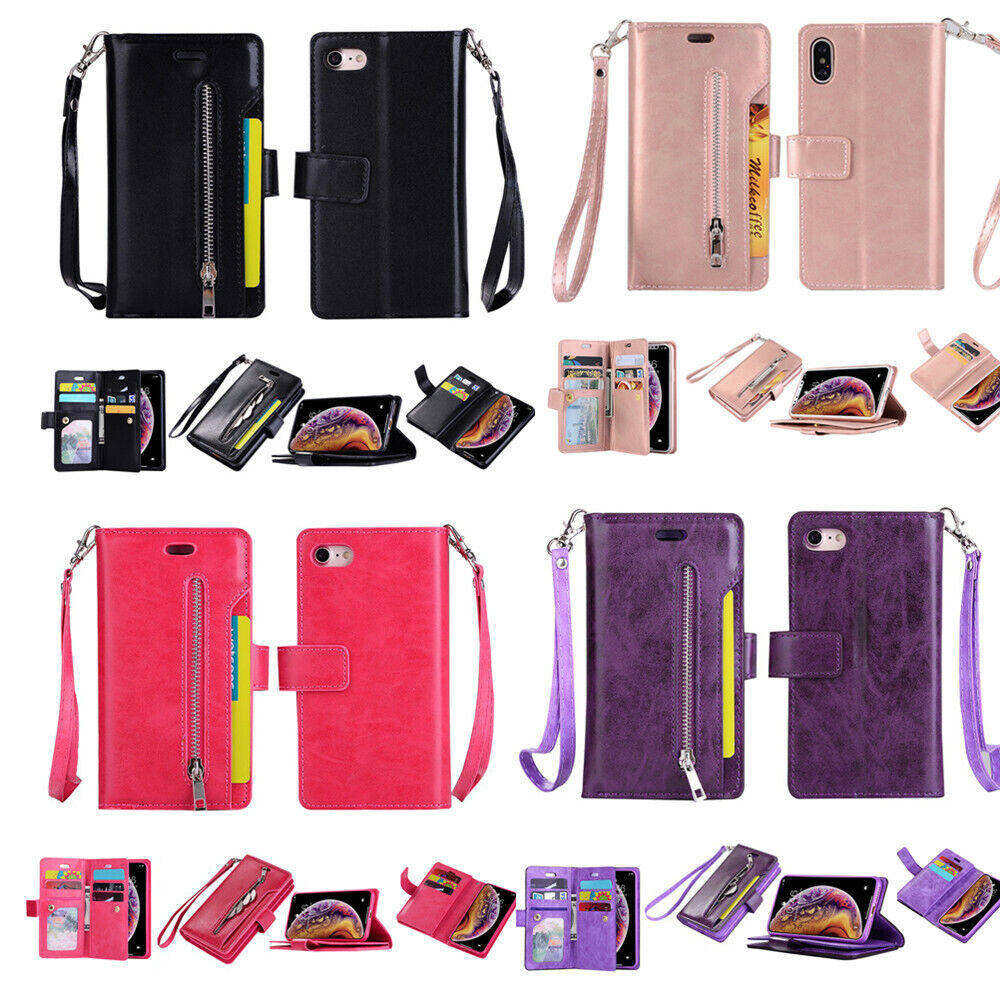 Magnetic Zipper Card Wallet Leather Flip Holder Stand Case Cover For Cell Phone