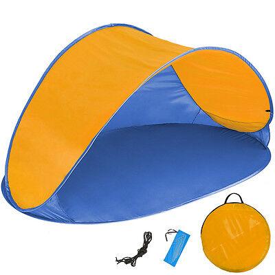 Pop Up Strandmuschel Wurfzelt Sonnenschutz Windschutz UV Schutz Zelt blau orange