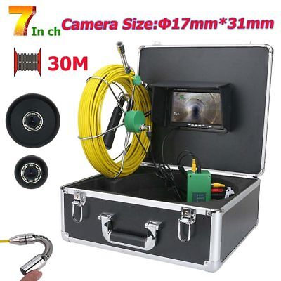 7inch Hd 17mm Drain Pipe Sewer Inspection Video Camera System 1000 Tvl 40m Cable
