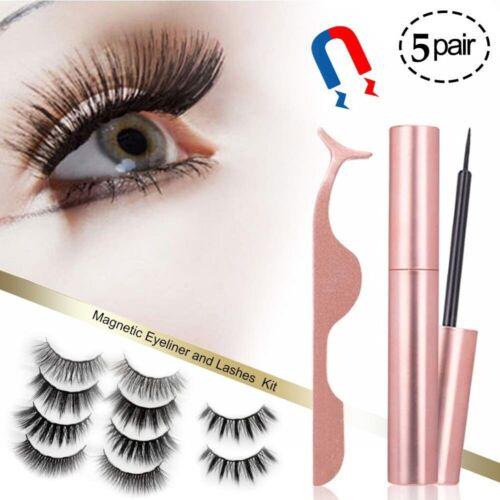 5 Pairs Reusable 3D Magnetic Eyelashes Kit With Tweezers Inside Long Lashes Set