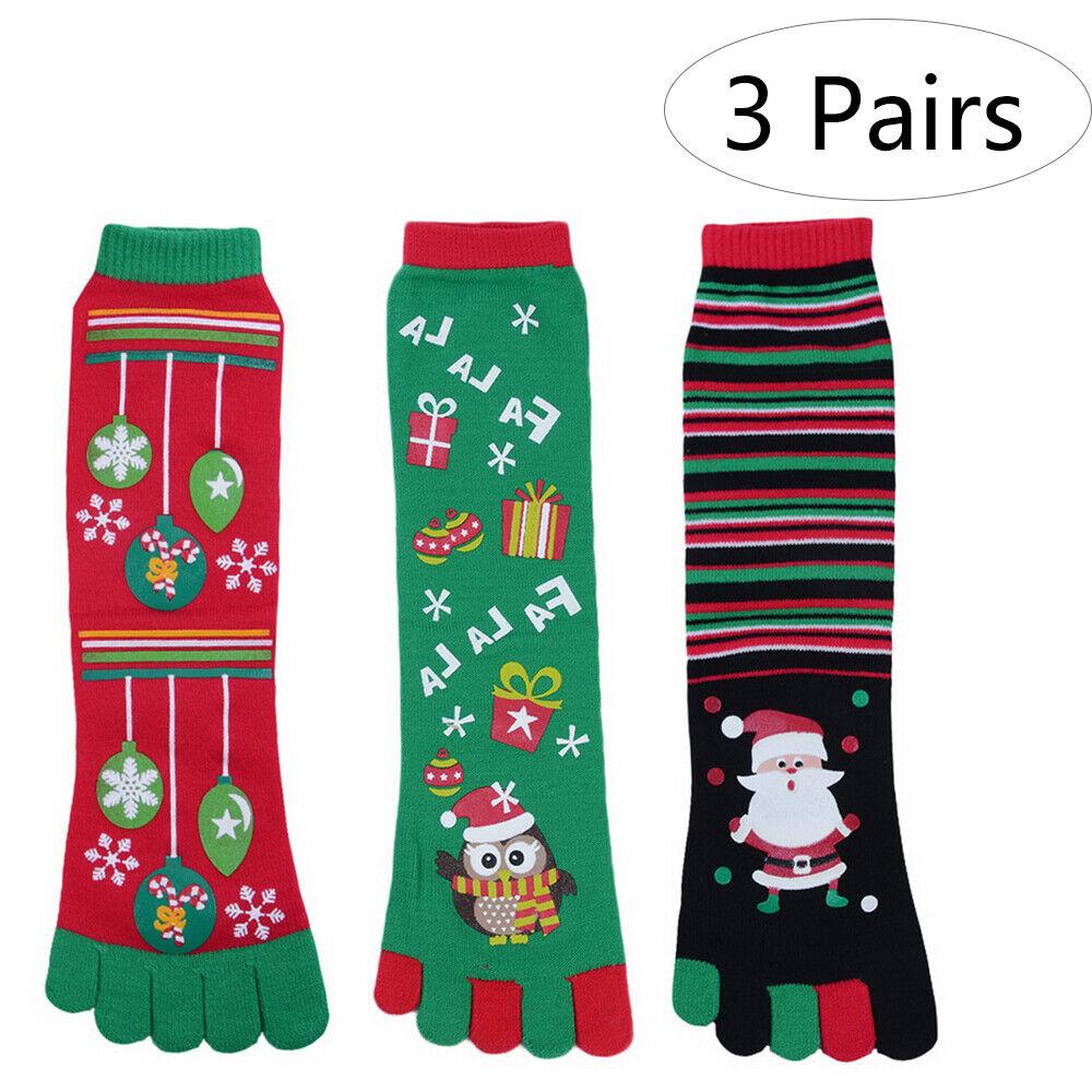 Christmas-Novelty Knee-high Socks Five Finger Toe Socks Funn