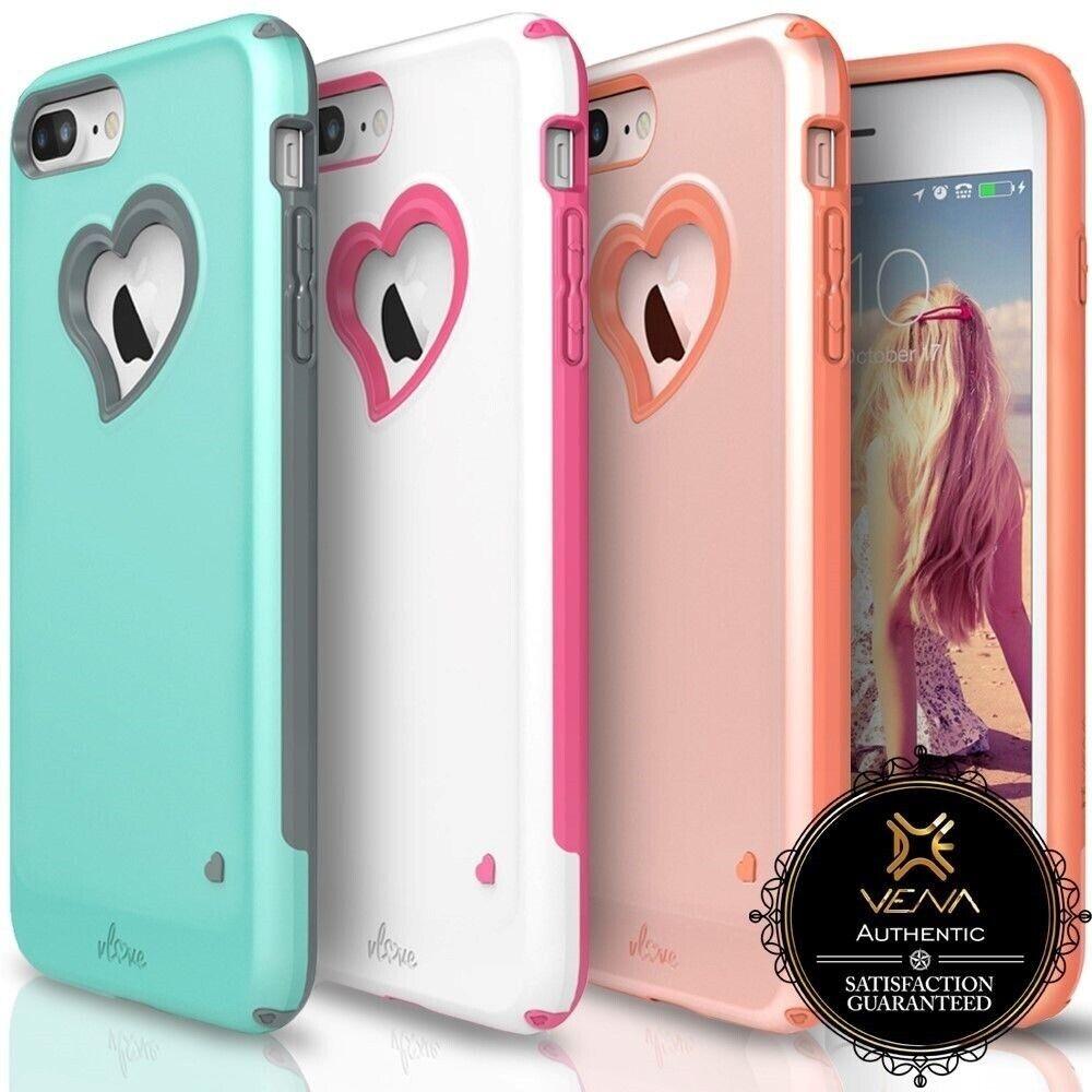 For iPhone 8 7 Plus VenavLoveCase Cover Girl Heart-Shape Hybrid Dual Layer