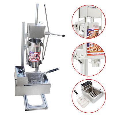 110v Manual Vertical 3l Churro Making Machine Spainish Donut Maker Kit6l Fryer