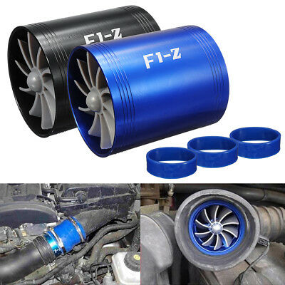 - Universal Car Double Turbine Turbo Air Intake Gas Fuel Saver Fan Supercharger US
