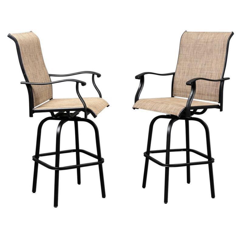 Outdoor Swivel Bar Stools Bar Height Patio Chairs, Set of 2 (Bar Stools)