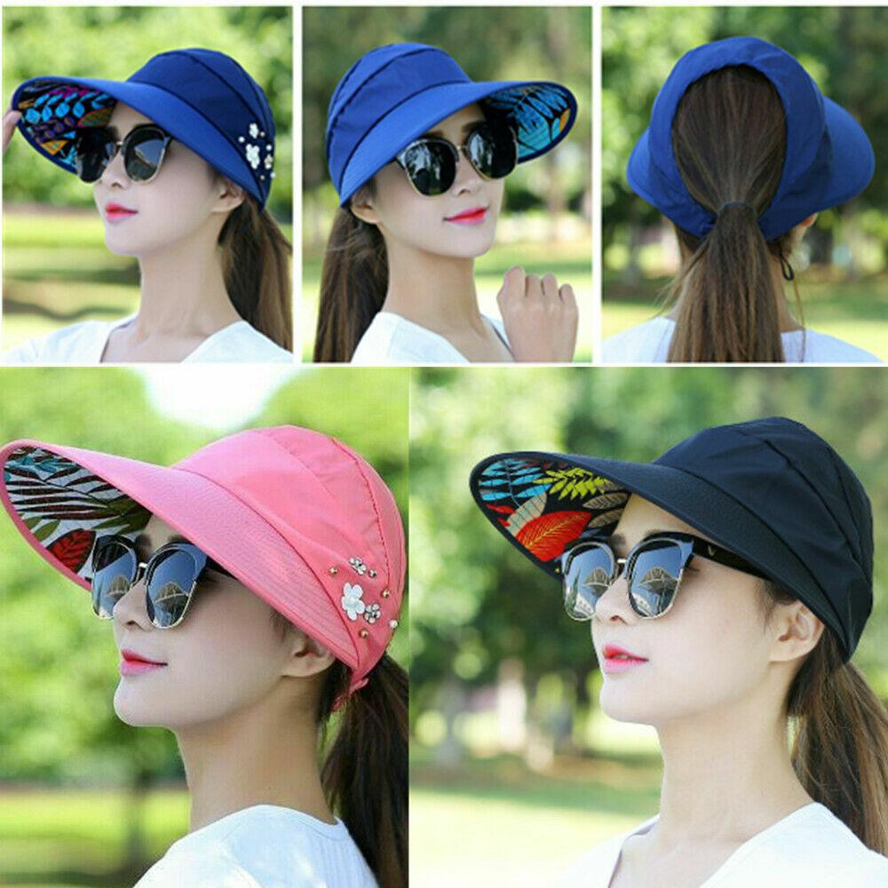Sonnenhut Damen Flatbar UV-Schutz Schlapphut Stroh-Strand Hüte Breite Krempe Hut