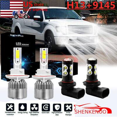 For 2004-2014 Ford F-150 8000K LED Headlight Hi/Lo + Fog Light 4 Bulbs Combo kit
