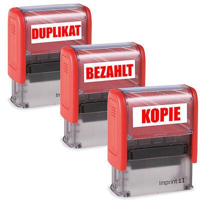 Stempel Firmenstempel Bürostempel Bezahlt, Gebucht, Erledigt, Duplikat, Kopie