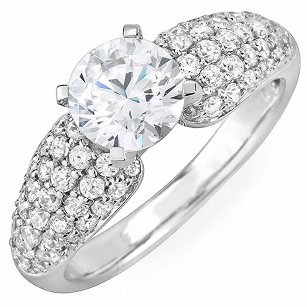 GIA Certified Round Diamond Engagement Ring 18k White Gold 1.81 Carat total