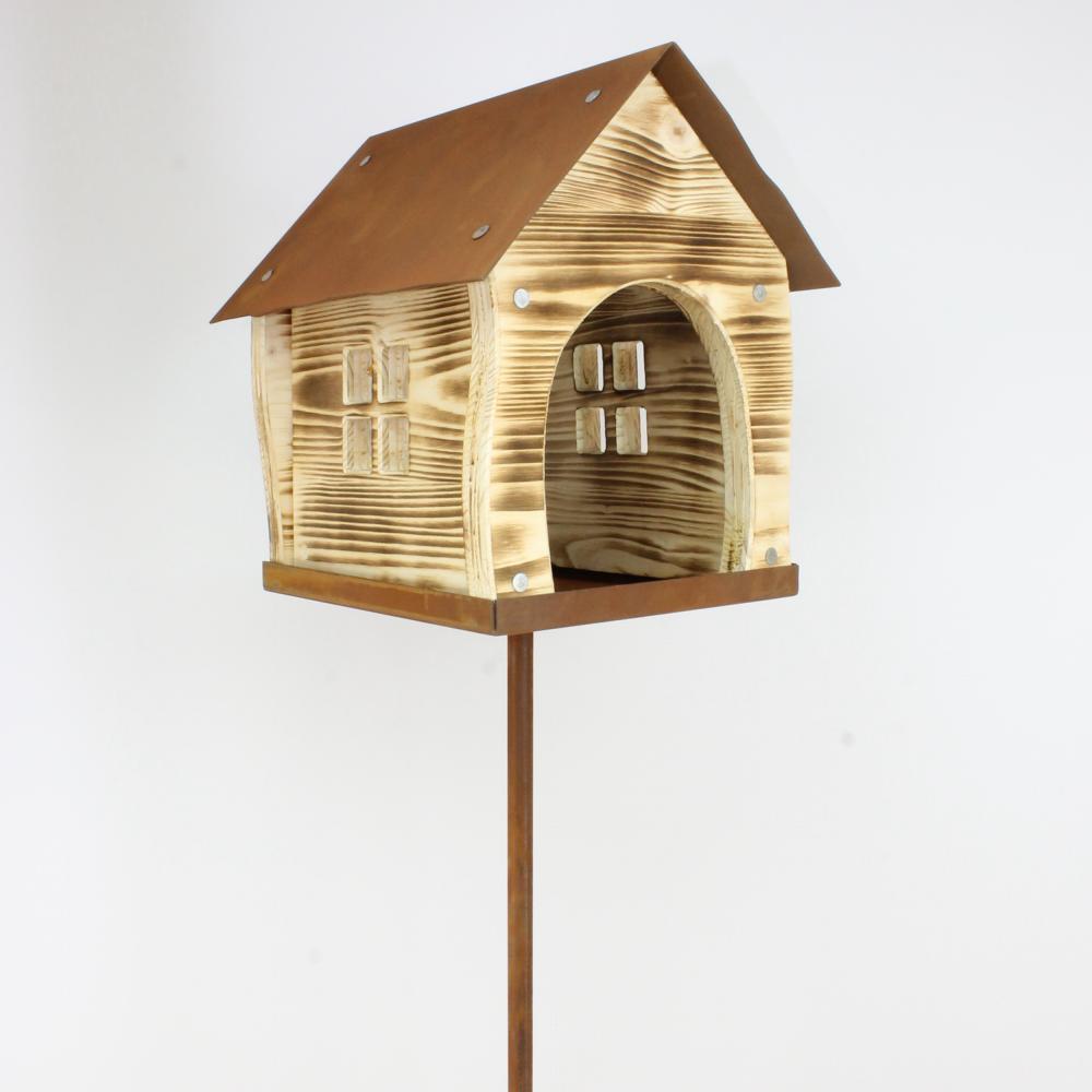 Vogelhaus aus Holz / Rost Vogelhäuschen Futterstelle Deko für Garten Vogelfutter