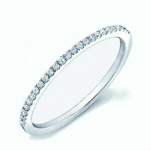 Round Diamond Thin Micro Pave Set Half Eternity Ring in White Gold
