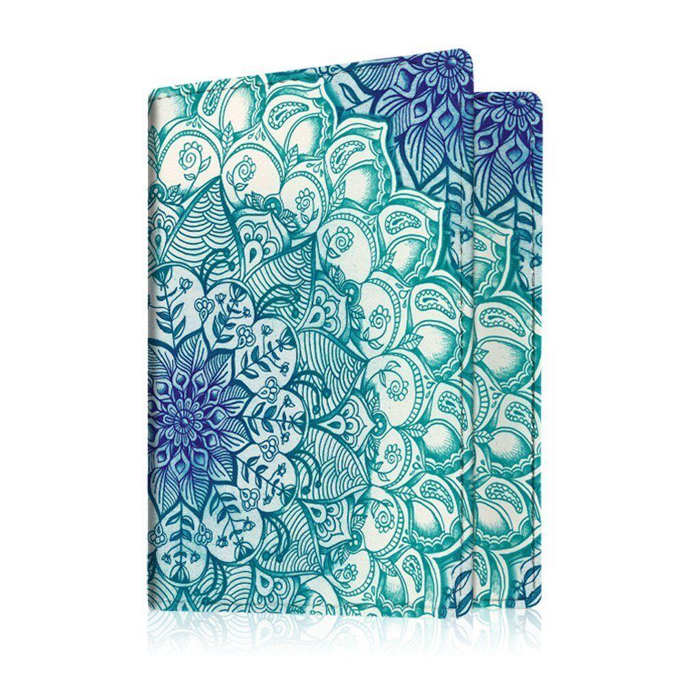 Travel Passport Holder Wallet Holder RFID Blocking Vegan Leather Card Case Cover Emerald Illusions