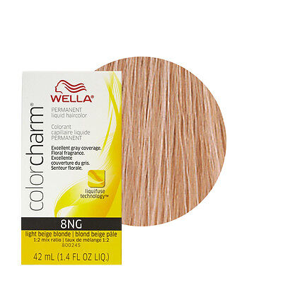 Light Beige Blonde - Wella Color Charm Permament Liquid Hair Color 42mL Light Beige Blonde 8NG
